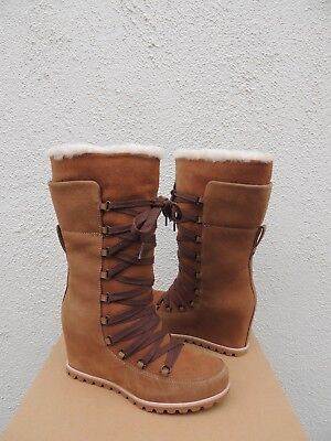 a6c419707684 UGG BOOTS UGGS Mason Lace Up Tall Leather Shearling Wedge Boots ...