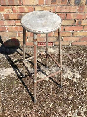 Vintage Metal Industrial Factory Stool Steampunk Quirky Bar Stool Rustic Chic