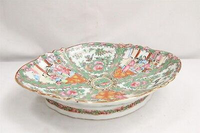 Old Chinese Porcelain Famille Rose Birds Man Woman Scalloped Footed Dish WOW