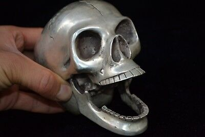 chinese Collectible Old tibet silver open mouth skull devil handwork Statue