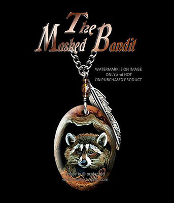 Masked Bandit Raccoon Necklace - Wild Nature Wildlife Art - Free Shipping #cbr