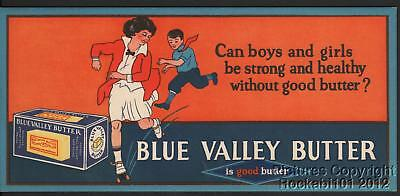 Vintage Blue Valley Butter Advertising Ink Blotter