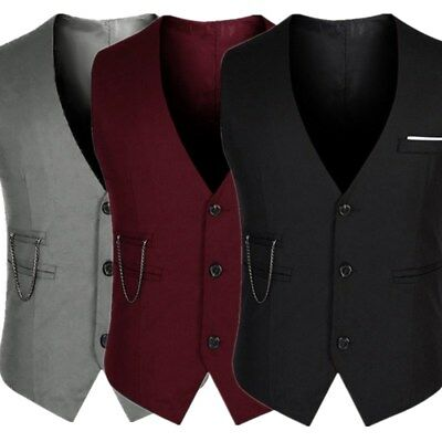 Fashion Men's Formal Casual Dress Vest Tie Suit Slim Fit Tuxedo Waistcoat Coat
