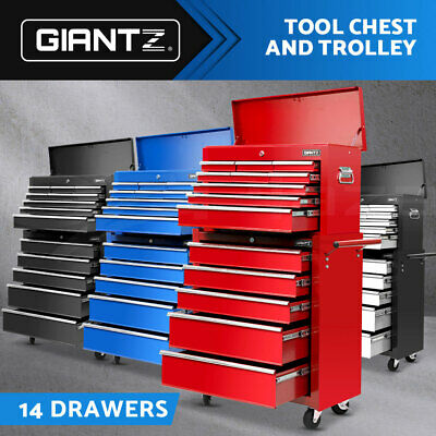 Giantz 14 Drawers Mechanic Tool Box Cabinet Garage Toolbox Trolley Chest Storage