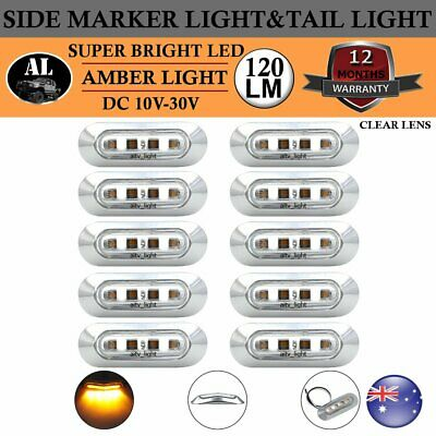 10x Clear Lens Amber 4LED Light Car Truck Jeep Trailer Clearance Side Marker AU