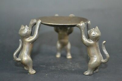 Collectible Old Copper Carve 3 cat handwork Statue chinese noble Candlestick