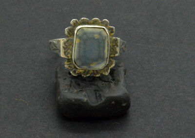 Post medieval period Silver ring with gemstone. 18 Century. 3gr