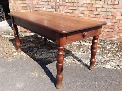 Antique Refectory Table Solid Oak Dining Table Twin Drawers Country Rustic Chic