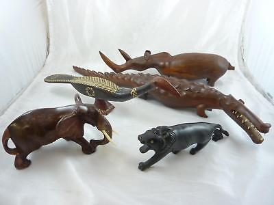 Lot Of Five African Carved Wooden Animals ?Antique