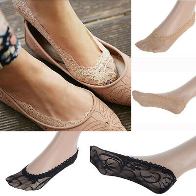 Women No Cut Socks Lace Low Ballerina Invisible Antiskid Footlet Ladies Boat