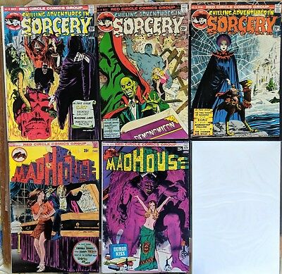 SORCERY & MADHOUSE..Nos,3,4,5 & 95,96.....FIVE RARE RED CIRCLE COMICS....1973/74