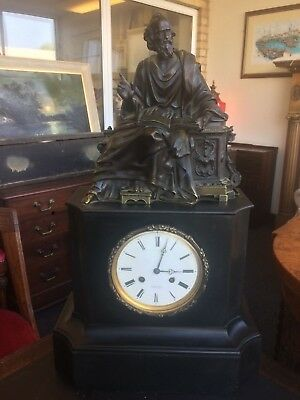 French 19th Century Slate Striking Mantle Clock With Bronze Philosopher Statue