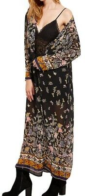NWT ZANZEA collect Retro MAXI Long DUSTER Kimono Butterfly Print Cardigan SHEER
