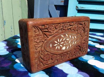 Vintage Cigar Humidor Carved Rose Wood Mother Of Pearl Inlay Trinket Box Chic