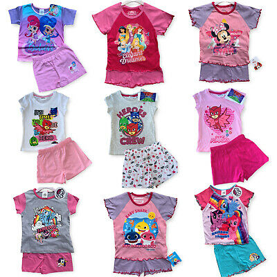 Girls Kids Baby Disney Pyjamas Short Sleeve T-Shirt & Shorts Set Age 1 -10 Years