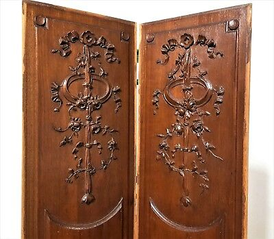 """Pair Carved Wood Panel 30"""" Antique French Roses Flowers Architectural Salvage"""