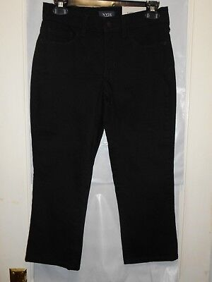 NEW $88 Womens NYDJ Not Your Daughters Jeans 0P Alina Capri Jeans Black Crop NWT