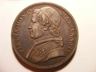 Italian Papal States 1854-R IX Large Silver Scudo, KM#1336.2, VF or a bit better