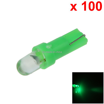 100x Green Auto T5 Side Bulb Marker Light Top Round 1 In-line LED 85 86 2721 B00