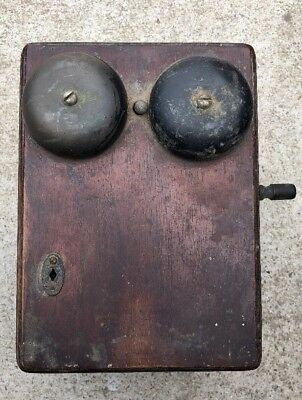 Antique Western Electric Wall Phone Early 20Th Century Oak Ringer Wall Box 1919