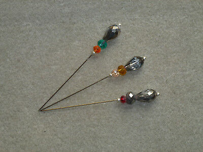 LACEMAKING LACE BOBBINS 3x 9CM CUT GLASS BEAD DIVIDER PINS