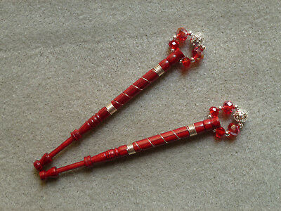 LACEMAKING LACE BOBBINS PAIR DYMOND WOOD - wired in silver