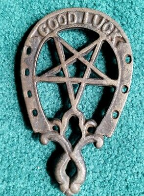 Antique Wrought Iron, GOOD LUCK, With Large Star. Horse Shoe Shaped