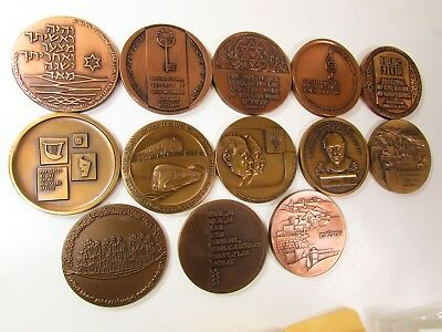 1959-1973 ISRAEL LARGE BRONZE MEDAL MIXED LOT COLLECTION UNC 59mm - 13 MEDALS