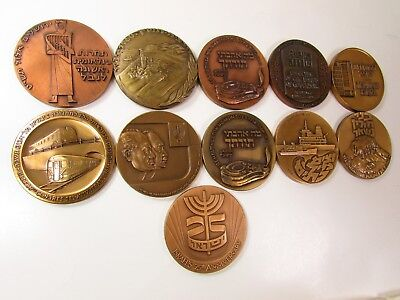 1959-1973 ISRAEL LARGE BRONZE MEDAL MIXED LOT COLLECTION UNC 59mm - 11 MEDALS