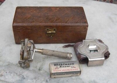 Old Vintage Wilkinsons Safety Razor & Accessories In Original Wooden Case