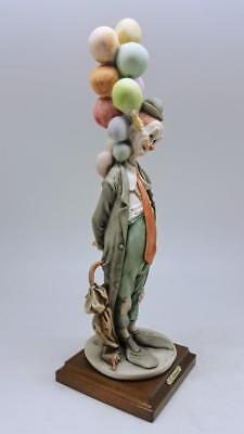 Capodimonte Giuseppe Armani Signed Large 14.5 Inch Clown With Balloons Figure