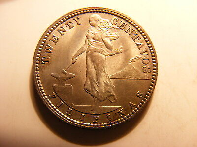 Philippines 1907 Silver 20 Centavos, KM#170, Uncirculated
