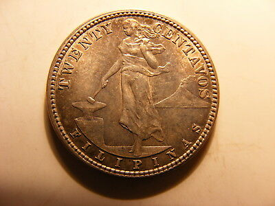 Philippines 1908-S Silver 20 Centavos, KM#170, Uncirculated