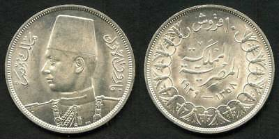 Egypt Silver 1939 AD, 1358 AH Ten Piastres Depicting King Farouk Wearing a Fez