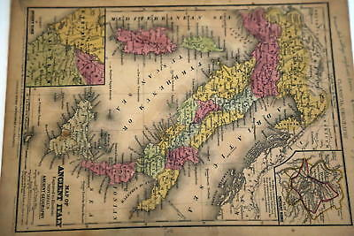 1844 Rare Beautiful Antique Mitchell Atlas Map-Italy-Handcolored-Nice Detail