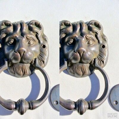 "2 LION head heavy front Door Knocker SOLID BRASS vintage antique style house 7""B"