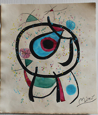 Drawing watercolor signed MIRO'