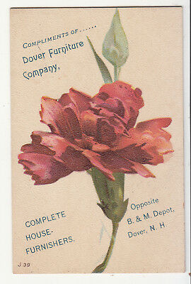 Dover Furniture Company B & M Depot NH Red Flower Vict Card c1880s