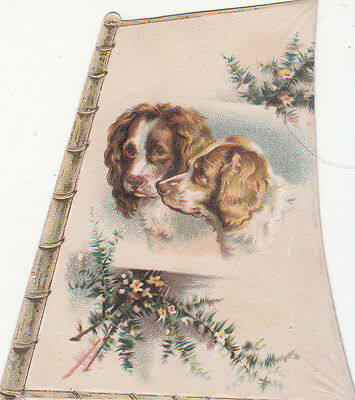 Two Spaniel Dogs Flowers Sail Diecut No Advertising Victorian Card  c 1880s