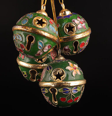 4 Cloisonne Pendant Old Handmade Bell Crafts Collection