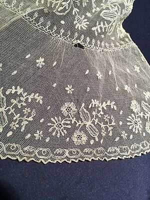 Antique Off White Fine Silk Fichu Scarf Early Needle Lace As Found