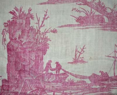 RARE 18th CENTURY FRENCH TOILE DE JOUY, LA PECHE ET LE COMMERCE MARITIME c1785