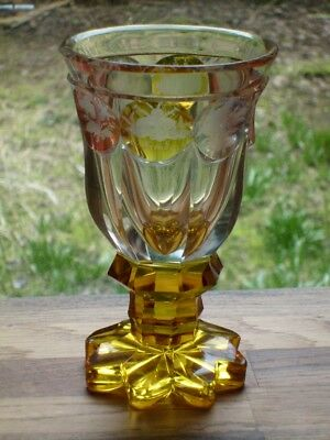A Large Bohemian Red Blue & Amber Flash Cut & Engraved Glass Goblet c1840 NR