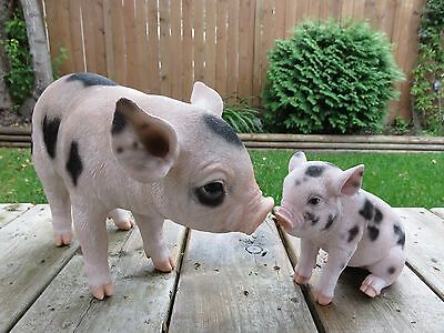 Pig Figurines Yard Ornaments Statues Spotted New Home Decor Farm Animals