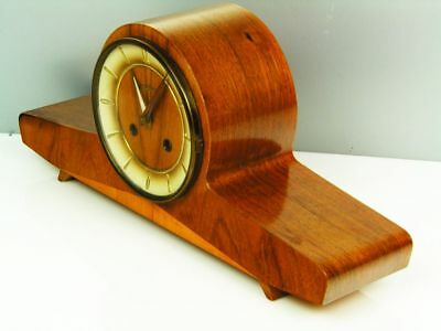 Beautiful Later Art Deco Design Chiming Mantel Clock Junghans From 50´s