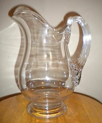 Antique Heavy Clear Glass Pitcher Applied Handle Blown Mold Lemonade Ice Waters
