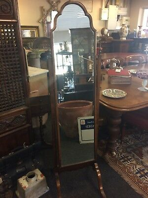 Antique Edwardian Elegant Slender Cheval Mirror Dressing Mirror