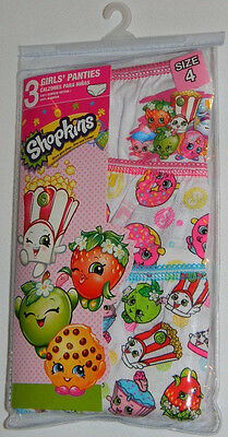 New Moose Toys Shopkins Girls White Pink Donut Strawberry Panties Underwear Sz 4