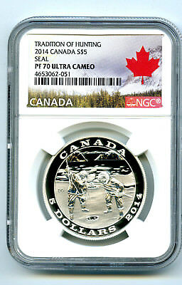 2014 $5 Canada 3/4Oz .9999 Silver Tradition Of Hunting Seal Ngc Pf70 Ucam Proof