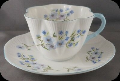 Dainty Shelley Blue Rock Floral Cup & Saucer